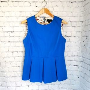 Ted Baker London Blue Peplum Sleeveless Top Insect